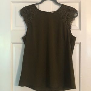 J. Crew army green blouse lace sleeves size 8